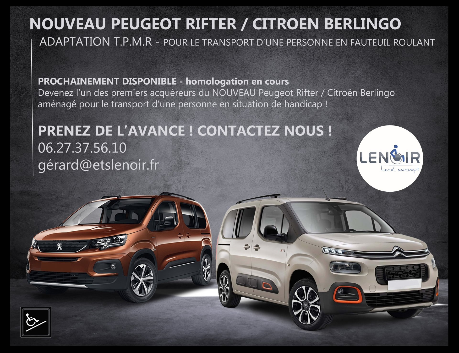 nouveau peugeot rifter citroen berlingo tpmr lenoirhandiconcept. Black Bedroom Furniture Sets. Home Design Ideas